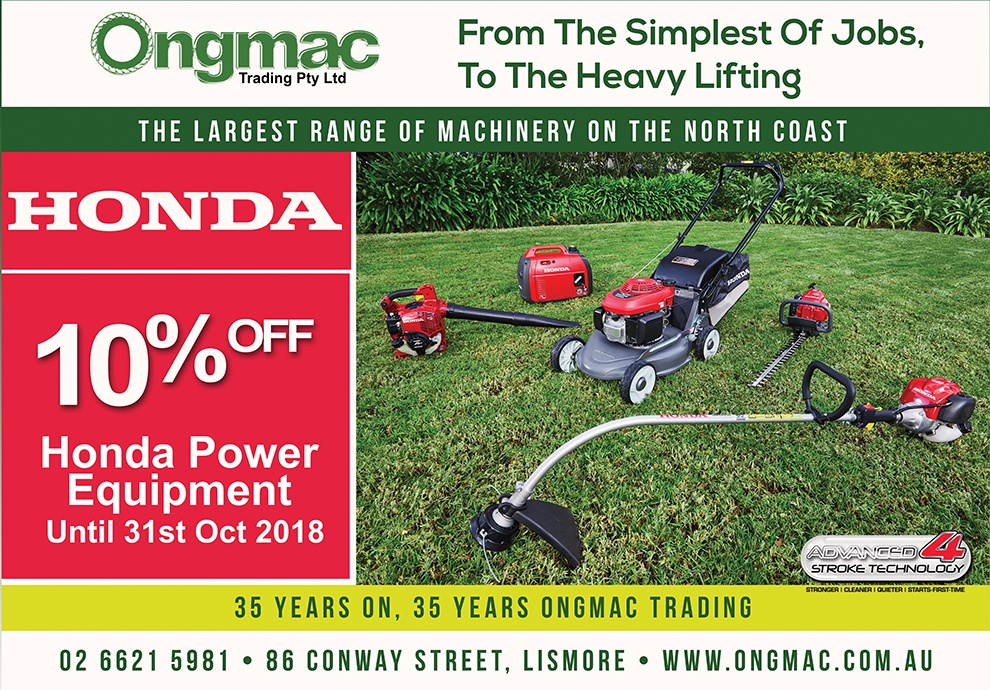 Ongmac Trading Lismore, Heartland Magazine Lismore News, Lismore News, Honda Power Equipment