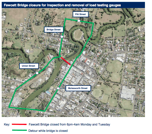 Fawcett Bridge closure for inspection and removal of load testing gauges