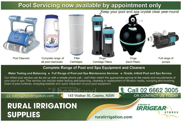 Rural Irrigation Supplies, Pool Repairs, Pool Equipemnt and Cleaners, Heartland Magazine Casino NSW News, Events and Advertising