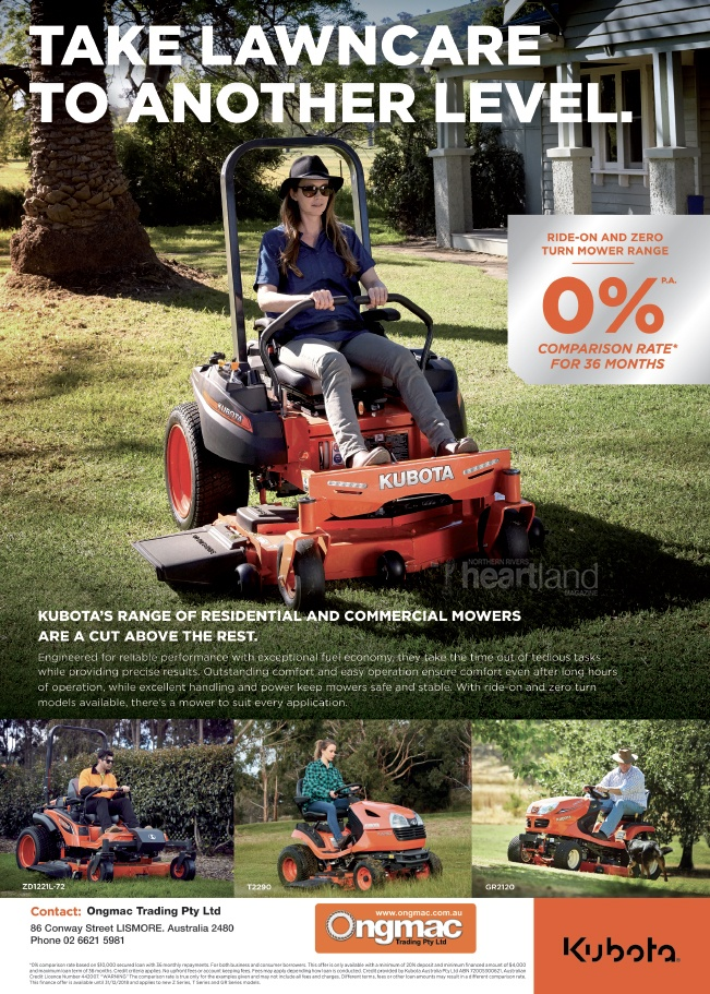 Ongmac Trading Lismore, Kubota NSW Northern Rivers,Heartland Magazine Lismore NSW News, Events and Advertising