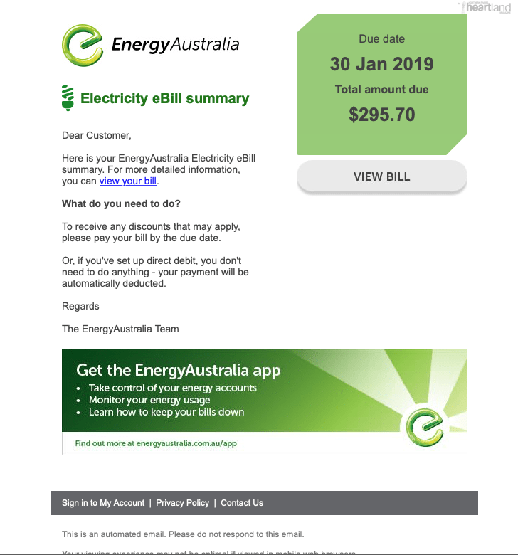 Scam Email, Energy Australia, Heartland Magazine news and events Australia