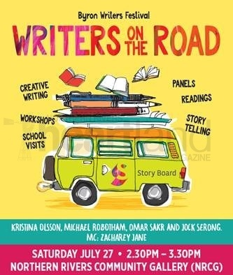 Byron Writers Festival StoryBoard Bus visits the Gallery with the 'Writers on the Road' event